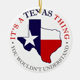 Texas Thing Double-Sided Ceramic Round Christmas Ornament