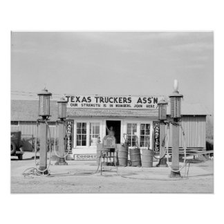 Texas Truck Stop, 1939. Vintage Photo Poster