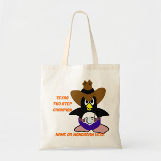 Texas Two Step Champion Penguin name monogram bags