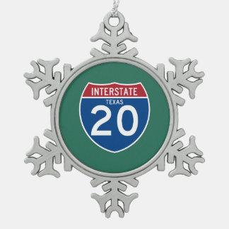 Texas TX I-20 Interstate Highway Shield - Snowflake Pewter Christmas Ornament