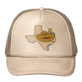 Texas TX Map & Cowboy with Ten Gallon Hat Cartoon