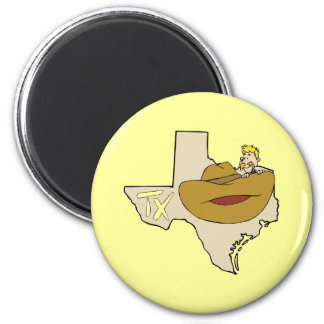 Texas TX Map & Cowboy with Ten Gallon Hat Cartoon 2 Inch Round Magnet