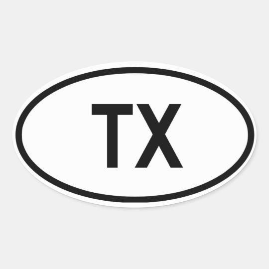 "Texas ""TX"" Oval Sticker"