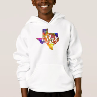 Texas U.S. State in watercolor text cut out Hoodie