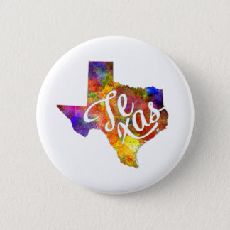 Texas U.S. State in watercolor text cut out Pinback Button