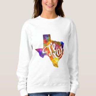 Texas U.S. State in watercolor text cut out Shirt