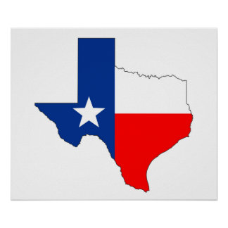 texas united states america map flag label shape poster