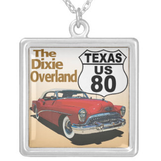 Texas US Route 80 - The Dixie Overland Silver Plated Necklace