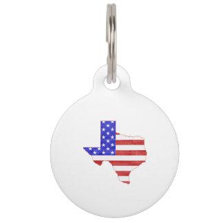 Texas USA flag silhouette state map Pet ID Tag