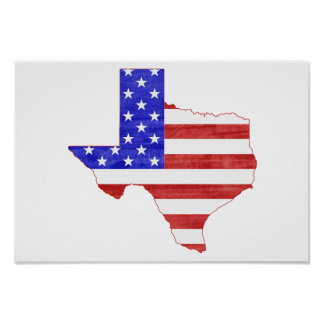 Texas USA flag silhouette state map Poster