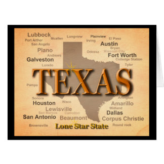 Texas Vintage Map Card