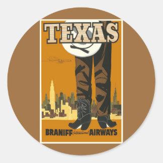 Texas - Vintage Travel Poster Art Classic Round Sticker