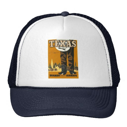 Texas - Vintage Travel Poster Art Mesh Hats