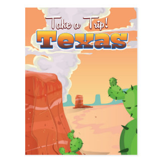 Texas Vintage Travel Poster Postcard