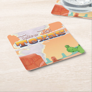 Texas Vintage Travel Poster Square Paper Coaster