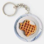 Texas Waffle Basic Round Button Keychain