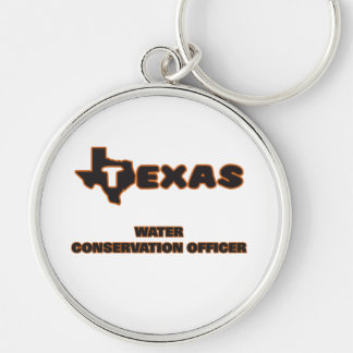 Texas Water Conservation Officer Silver-Colored Round Keychain