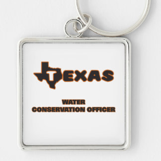 Texas Water Conservation Officer Silver-Colored Square Keychain