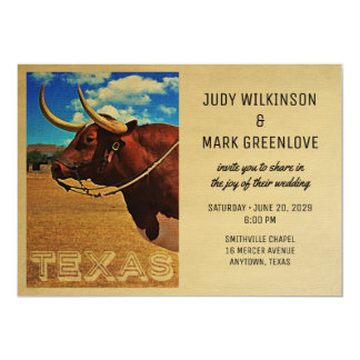 Texas Wedding Invitation Vintage Country Western