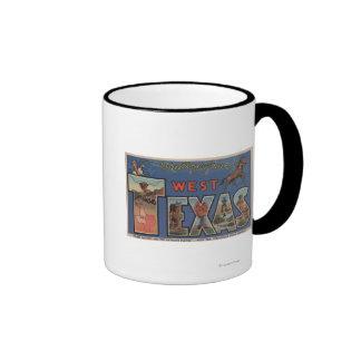 Texas (Western)Large Letter Scenes Ringer Mug