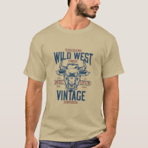 Texas Wild West Vintage Style Bull T-Shirt