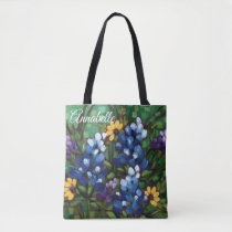 """Texas Wildflowers-Bluebonnets"" Custom Tote Bag"