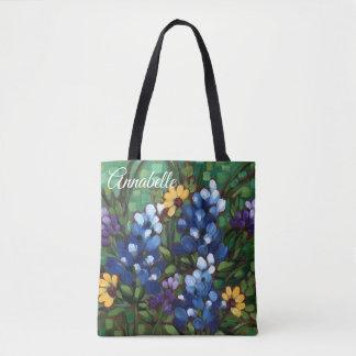 """""""Texas Wildflowers-Bluebonnets"""" Custom Tote Bag"""