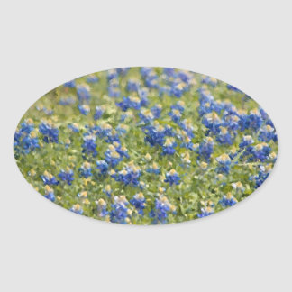 Texas Wildflowers Bluebonnets Digital Painting Oval Sticker