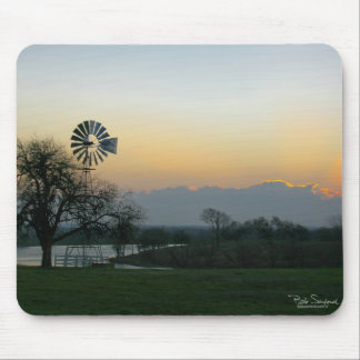 Texas windmill sunrise mouse pad