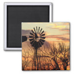 Texas windmill sunset 2 inch square magnet