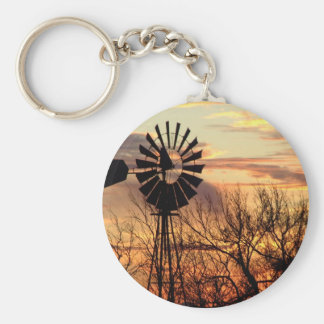 Texas windmill sunset basic round button keychain