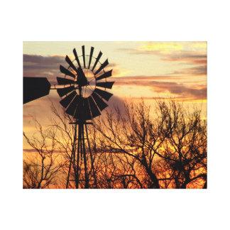 Texas windmill sunset canvas print