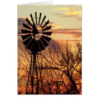 Texas windmill sunset greeting card