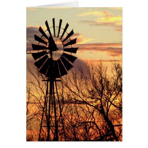 Texas windmill sunset card