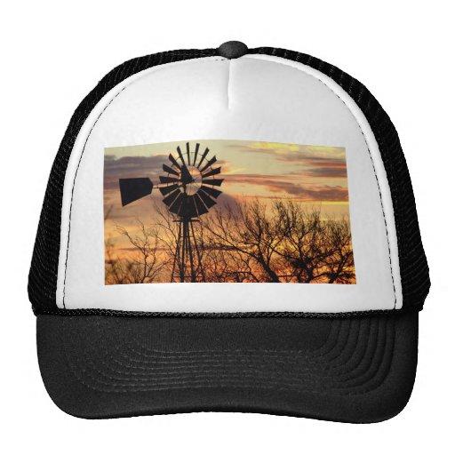 Texas windmill sunset hats