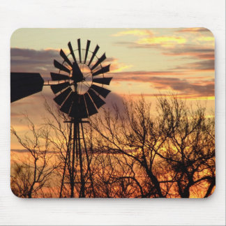 Texas windmill sunset mouse pad