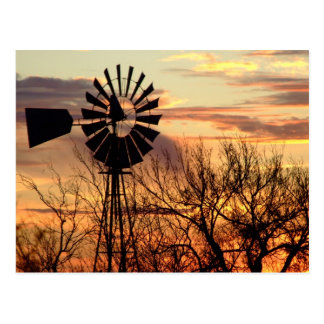 Texas windmill sunset postcard