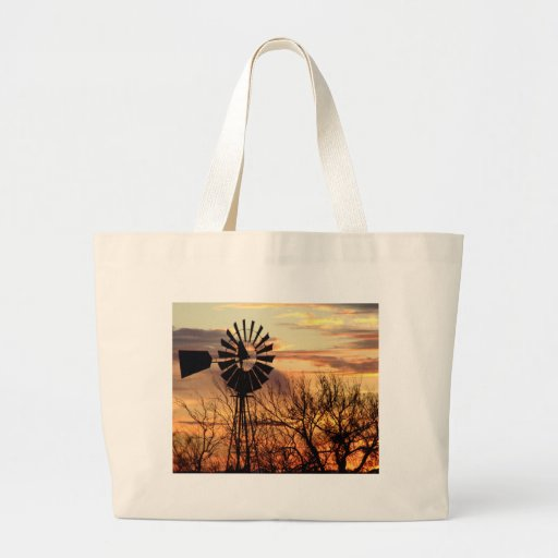 Texas windmill sunset tote bags