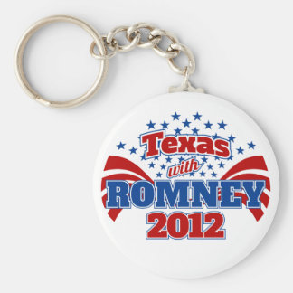 Texas with Romney 2012 Basic Round Button Keychain