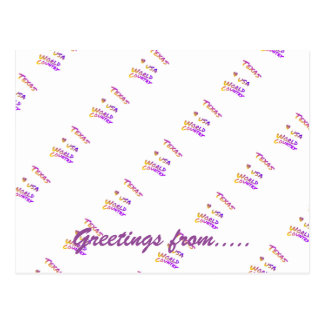 Texas world country, colorful text art postcard