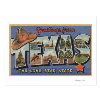 TexasGreetings del estado solitario de la estrella Postal