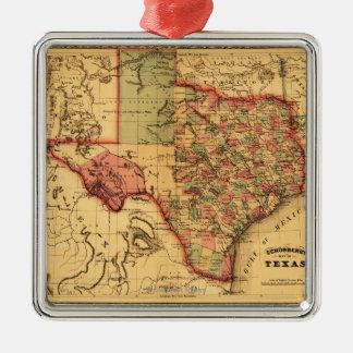 TexasPanoramic Map Metal Ornament