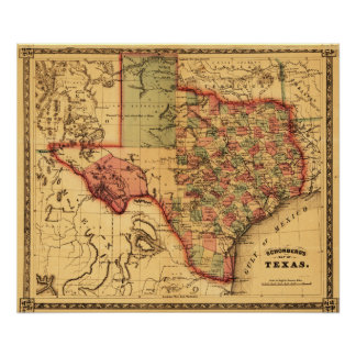 TexasPanoramic Map Print