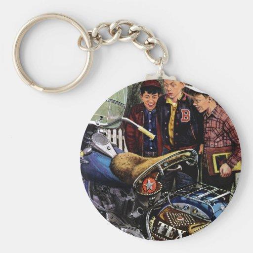 Tex's Motorcycle Basic Round Button Keychain
