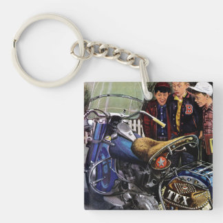Tex's Motorcycle Double-Sided Square Acrylic Keychain