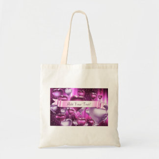 Text Added Pink Heart Balloons Customized Tote Bag