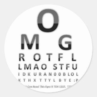 Text Addict's Eye Chart Classic Round Sticker