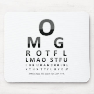 Text Addict's Eye Chart Mouse Pad