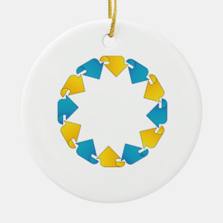 Text box with arrows ceramic ornament