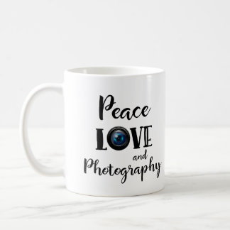 Text Camera Lens Peace Love and Photography Coffee Mug